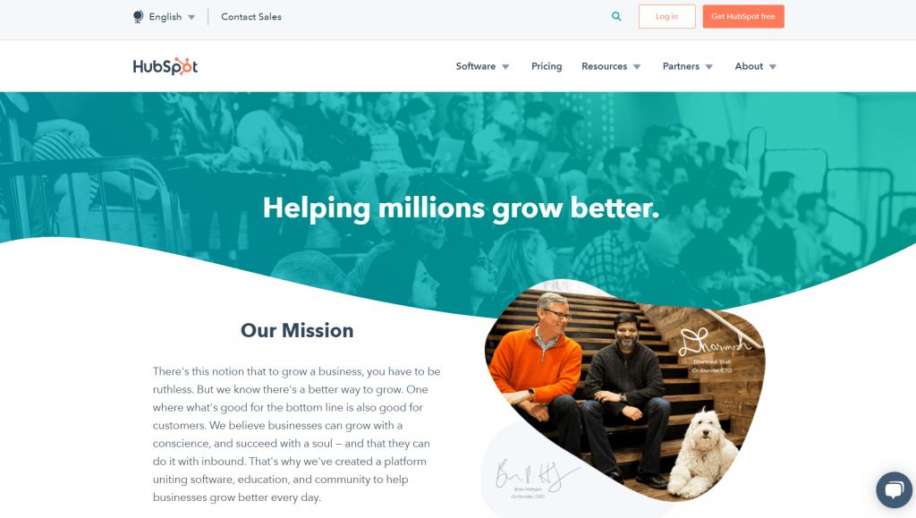 """Esempio pagina """"chi siamo"""" di HubSpot"""